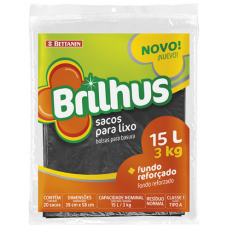 Saco Para Lixo Brilhus Preto 10 Sacos 50L