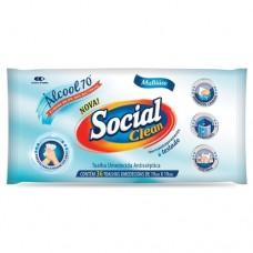Toalha Umedecida Antisséptica Álcool 70º INPM Social Clean 36 Toalhas