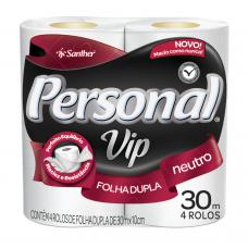 Papel Higiênico Personal Vip Folha Dupla 4 Rolos 30m.