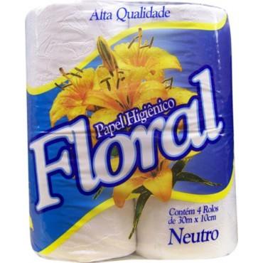 Papel Higiênico Floral Neutro  4 Rolos.